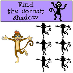 Children games: Find the correct shadow. Little cute monkey jumps and smiles.