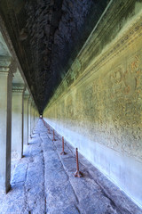 Ancient corridor in Angkor Wat, Siem Reap, Cambodia, was inscribed on the UNESCO World Heritage List in 1992