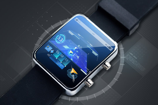 close up of smart watch with gps navigator map