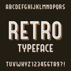 Retro Alphabet Vector Font. Type letters and numbers. Stock vector typeface for your design.