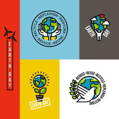 Ecology concept flat line vector illustration with human figure holding green planet Earth