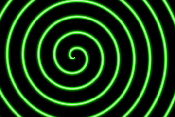 black background with a neon green spiral