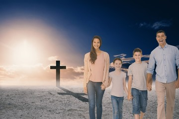 Composite image of portrait of happy family walking