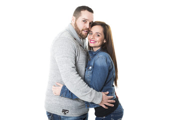 Portrait of attractive young couple smiling,