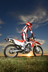 Man on Motocross Motorcycle