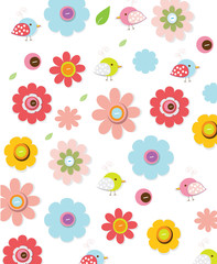 beautiful colorful background with decorative flowers and birds, for children, you can use for printing on fabric