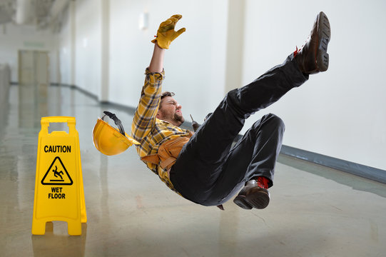 Worker Falling on Wet Floor