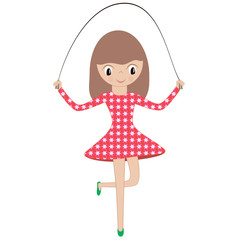 Illustration of a little girl in a red dress playing a skipping