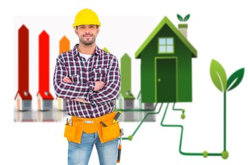 Composite image of manual worker standing arms crossed