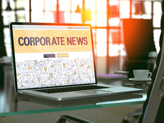 Modern Workplace with Laptop Showing Landing Page in Doodle Design Style with Text Corporate News. Toned Image with Selective Focus. 3D Render.