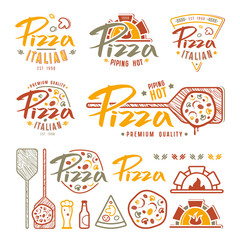 Set of pizzeria labels, badges, and design elements