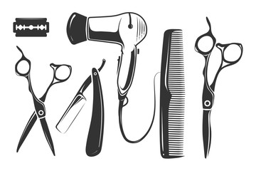 Barber shop vector elements for logo, labels and badges