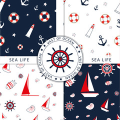 Vector seamless pattern with sea elements: lighthouses, ships, anchors