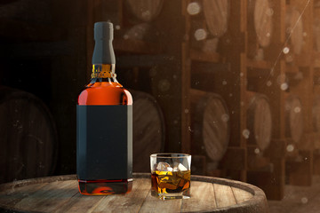 Spoed Foto op Canvas Alcohol Whiskey bottle mockup with glass on barrel and with blurred barrels on background. 3d illustration.