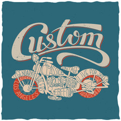 Custom motorcycles hand drawn lettering illustration. Design for t-shirt, poster, greeting cards etc.
