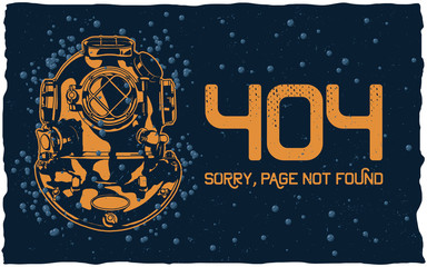 404 error page vector template for website. Undrewater landscape with diver helmet and bubbles. Grey background. Text warning message 404 page not found.