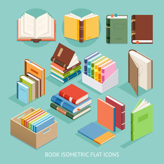 Book Isometric Flat Icons set. Vector Illustration.