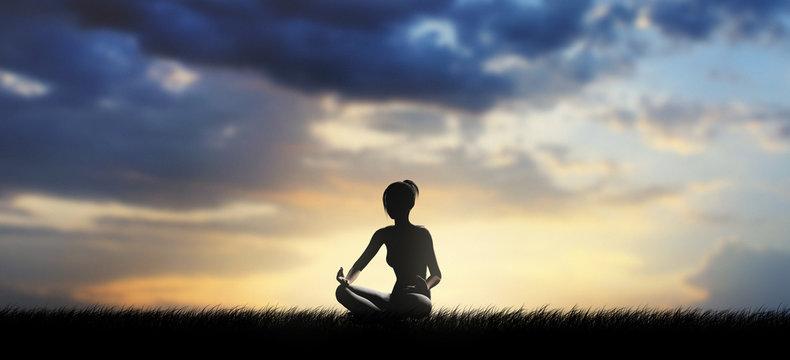 Donna posizione meditazione con tramonto
