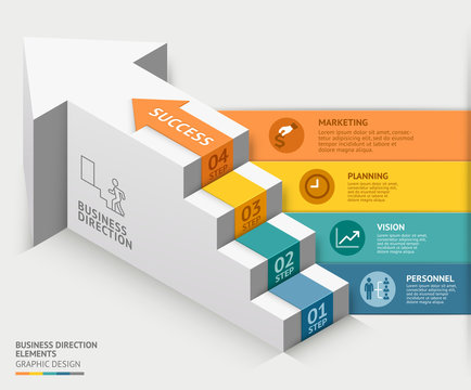 3d business staircase diagram template. Vector illustration.
