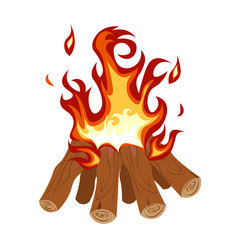 Camp Fire Burning Brightly vector illustration. Fire camping on white background.