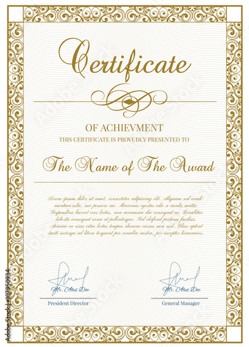 Certificate Template With Guilloche Elements Blue Diploma Border