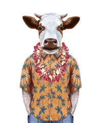 Portrait of Cow in summer shirt with Hawaiian Lei. Hand-drawn illustration, digitally colored.