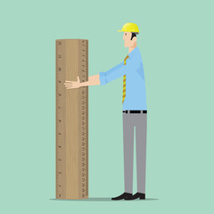 Architect with big wooden ruler.
