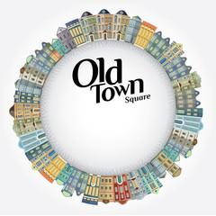 Old town landscape. Vector illustration