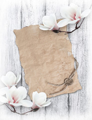 Magnolia and old paper with wax seal