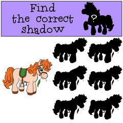 Children games: Find the correct shadow. Little cute pony stands and eats grass.