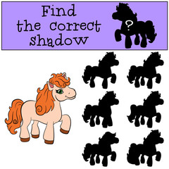 Children games: Find the correct shadow. Little cute pony stands and smiles.
