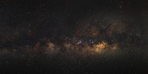 Panorama Milky Way galaxy, Long exposure photograph, with grain