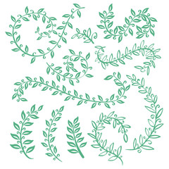 Set wreaths and laurel. Hand painted green branches, leaves, leaf, petal decor elements. For design template, invitation. Hand sketched brushes texture. Nature, organic items. Vector