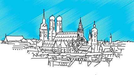 Über den Dächern von München, Vektor Outline