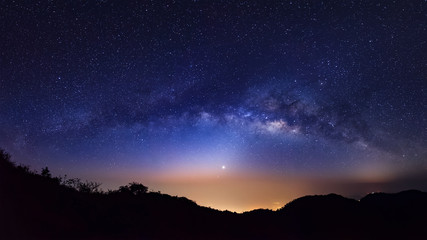 Panorama Milky Way Galaxy.Long exposure photograph.With grain