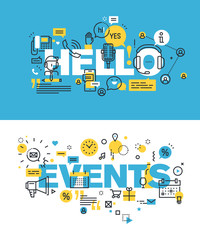 Set of modern vector illustration concepts of words hello and events. Thin line flat design banners for website and mobile website, easy to use and highly customizable.