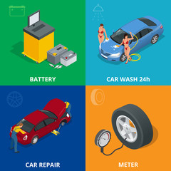 Auto mechanic design concept set with car repair service, auto service computer car diagnostic. flat icons isolated vector illustration