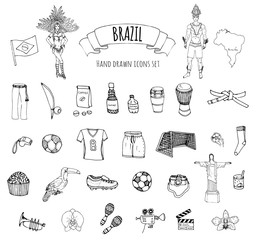 Hand drawn doodle Welcome to Brazil set Vector illustration Sketchy Brazilian traditional icons Cartoon Brazil typical elements collection Landmark Football ball cleats goal Capoeira Samba Orchid