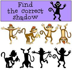 Children games: Find the correct shadow. Monkey.