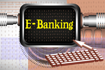 Colorful illustration with computer keyboard and a screen with the text e-banking written on the screen
