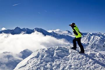 young man enjoying top view