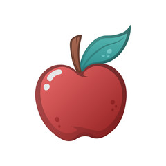 Cartoon apple on the white background.
