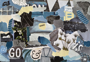 Atmosphere color petrol blue, grey,white and black mood board collage sheet made of teared magazine paper with figures, letters, colors and textures, results in art