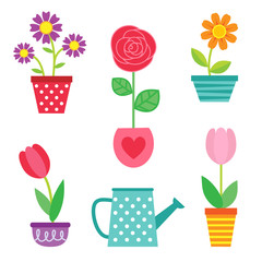 Vector set of flowers in pots and watering can