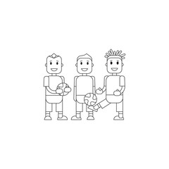 Set soccer Football team players. Vector flat illustration of a football player posing with the ball for baner, card