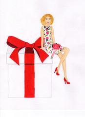 Girl sitting on a present box. Illustration
