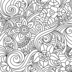 black and white pattern in a zentangle style, Hand-drawn design