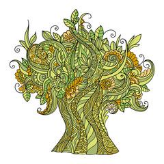 Doodle art colorful tree. Zentangle floral pattern.  Hand-drawn design element.