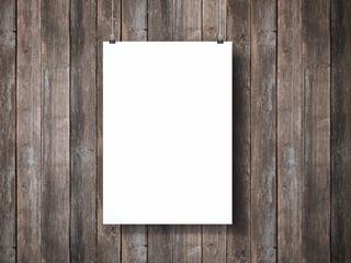 White poster hanging