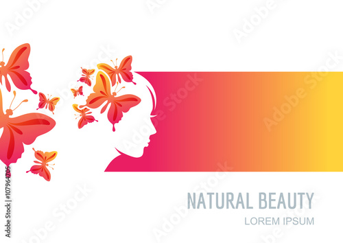 Female Face On Colorful Background Woman With Butterflies In Hair Vector Label Package